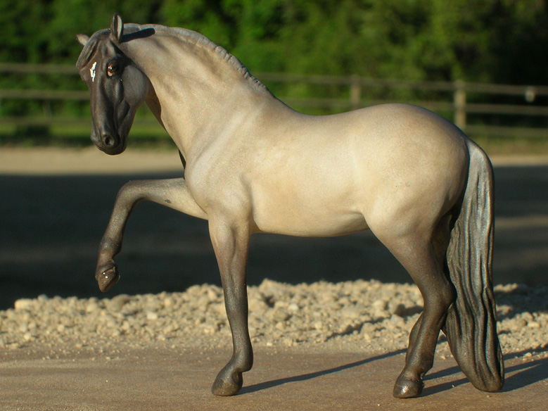 Grulla Andalusian Stallion custom mini model horse by Sarah Tregay (Breyer Stablemate)