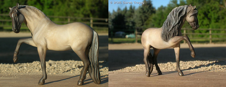Custom mini model horse (Breyer Stablemate) to Dapple Grulla Andalusian Stallion by Sarah Tregay