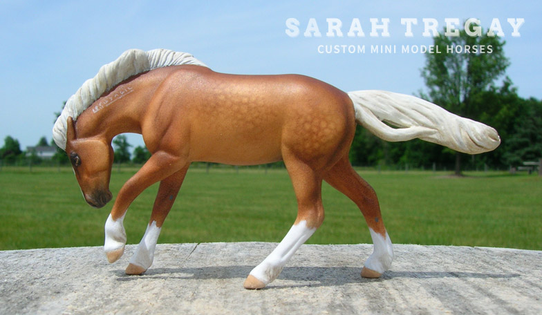 custom mini model horse by Sarah Tregay (Breyer Stablemate Mustang, Rivet Mold, Dapple Palomino)