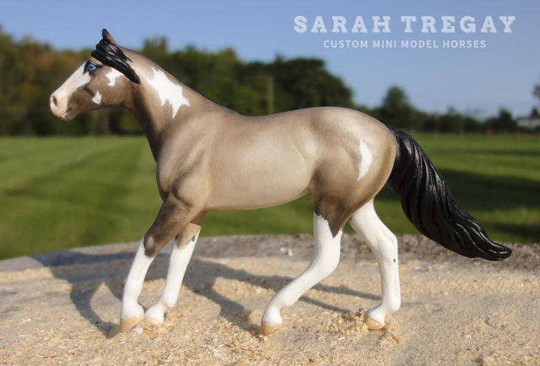 Grulla paint mare from Dungaree Breyer Mold, custom mini model horses by Sarah Tregay (Breyer Stablemates)