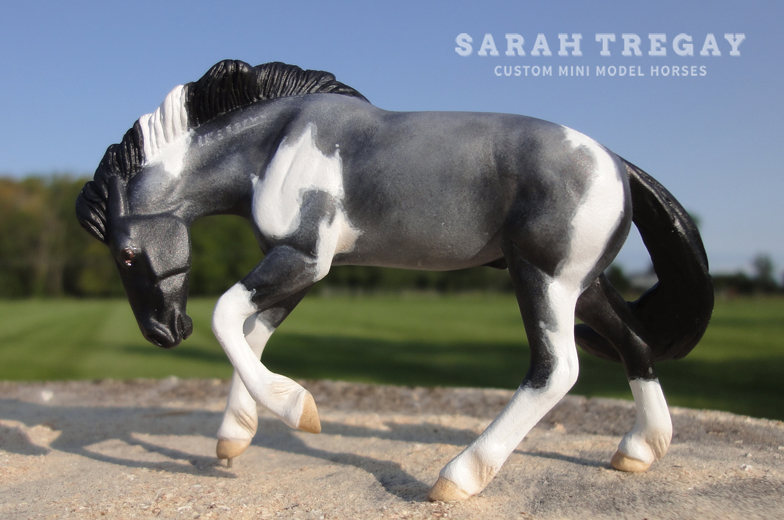 Rivet custom to a blue roam paint mustang with freeze brand, custom mini model horses by Sarah Tregay (Breyer Stablemates)